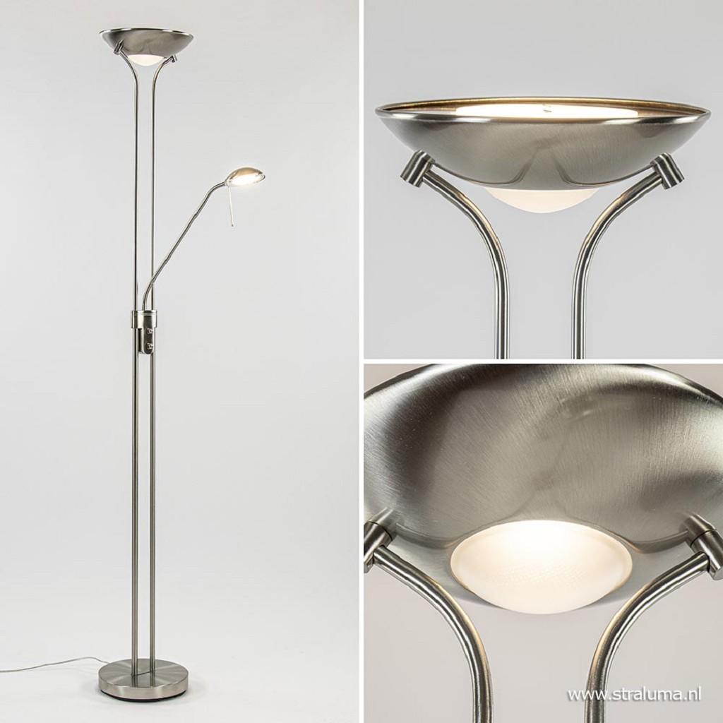Moderne LED uplighter geborsteld staal met leesarm