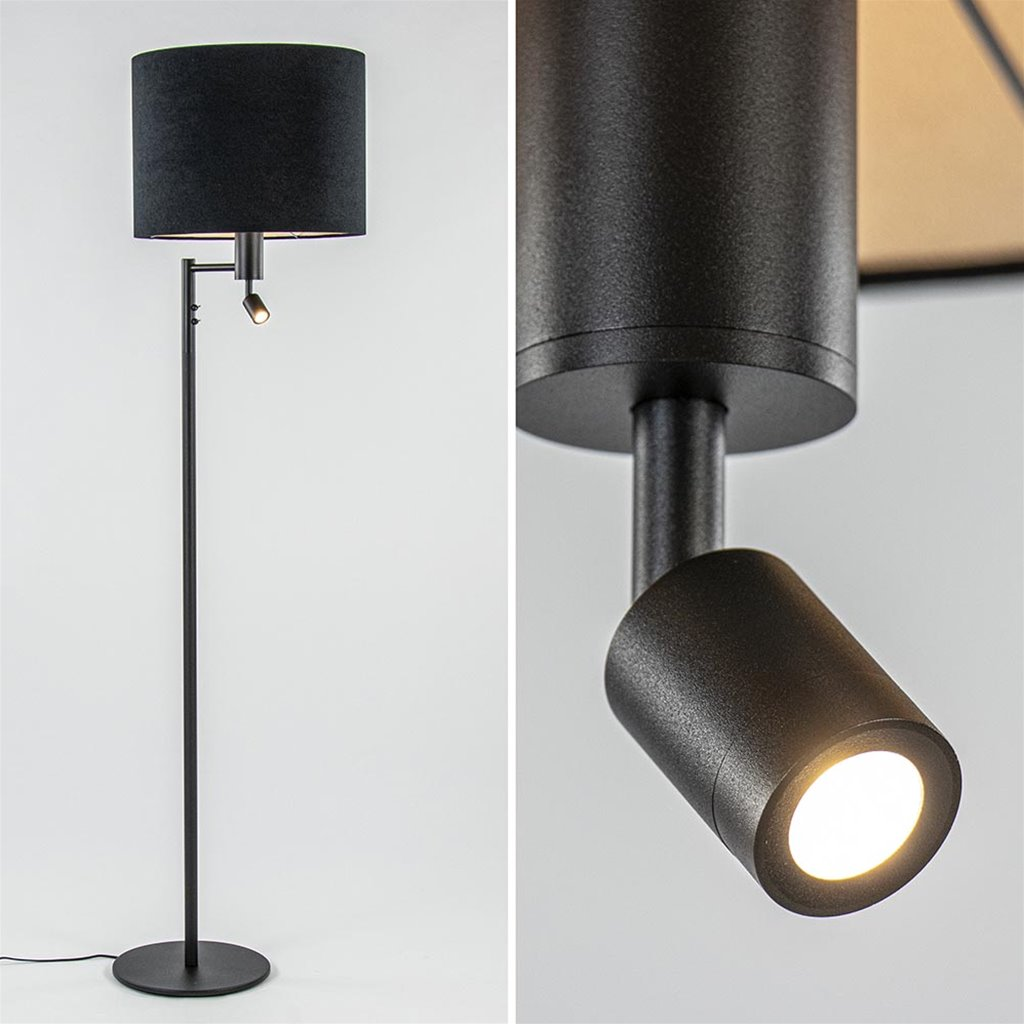 Moderne vloerlamp met LED leeslamp exclusief kap
