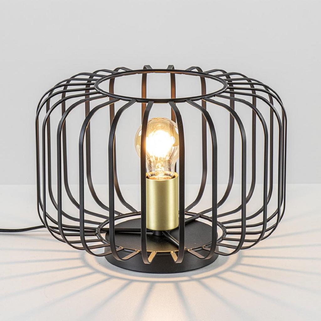 Moderne tafellamp zwart met brons