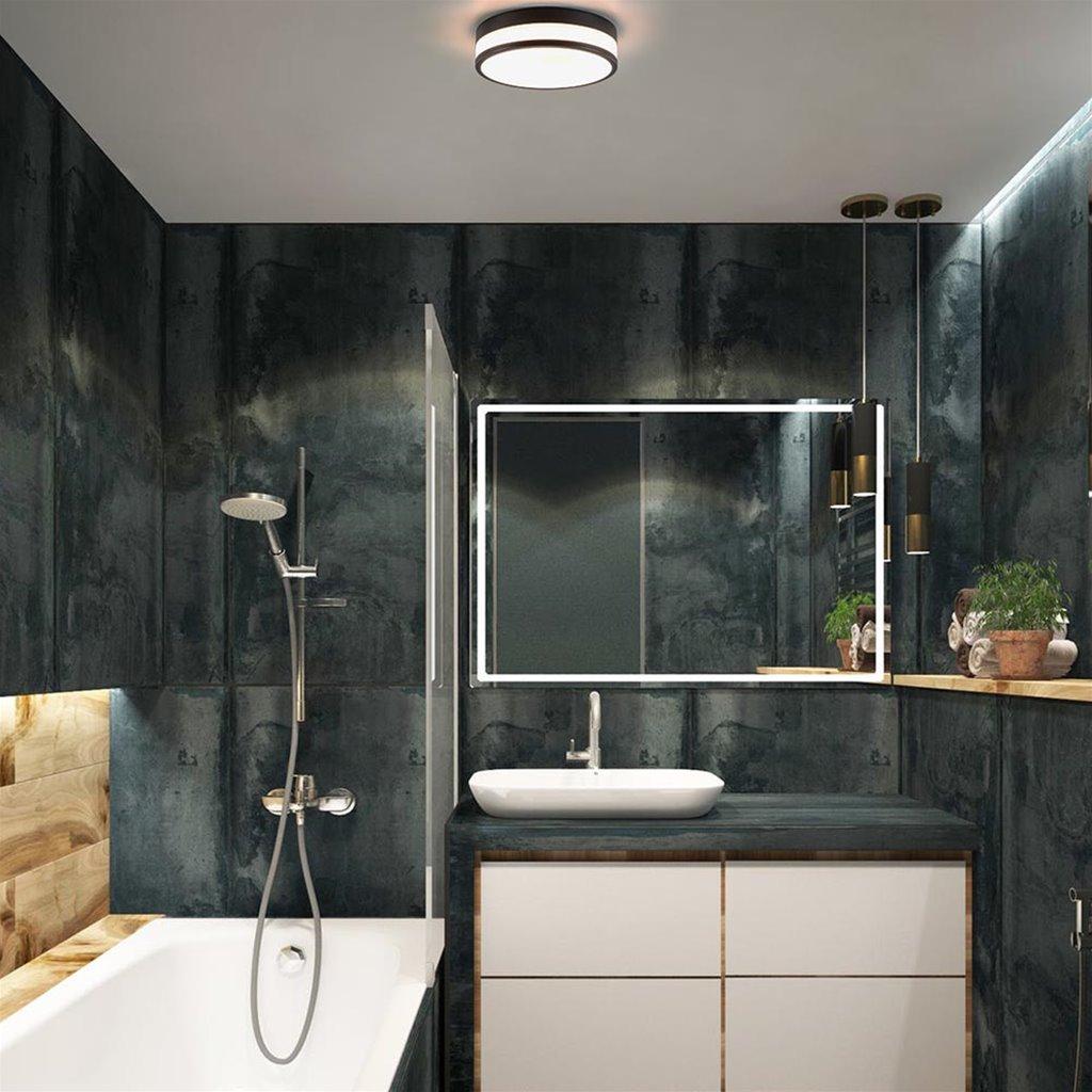 Moderne plafonnière zwart met opaal glas IP44