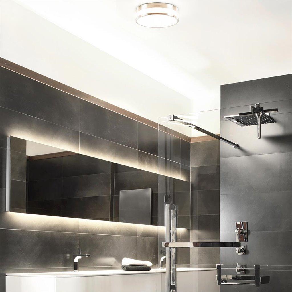 Plafondlamp nikkel/glas IP44 3-step dim.