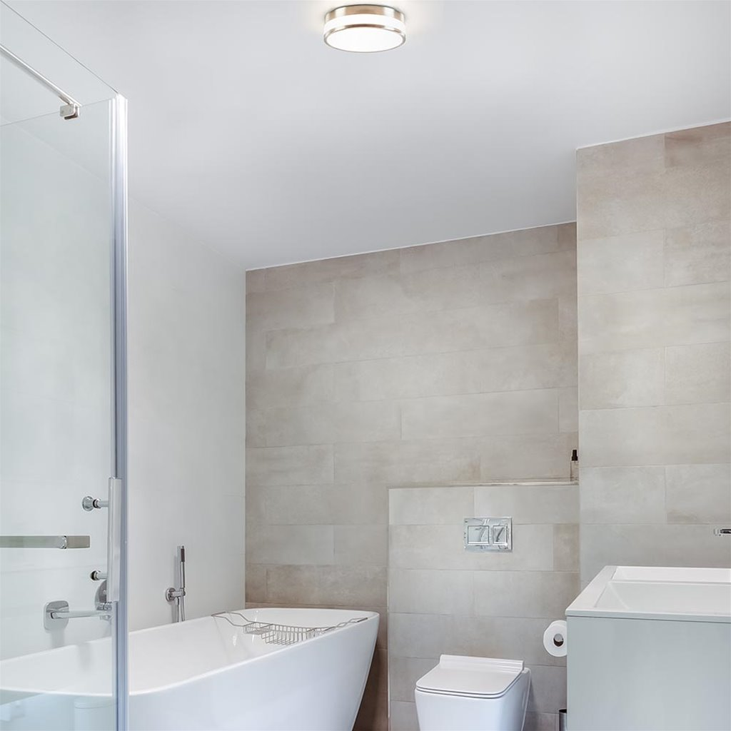Ronde badkamer plafonnière nikkel met opaal glas