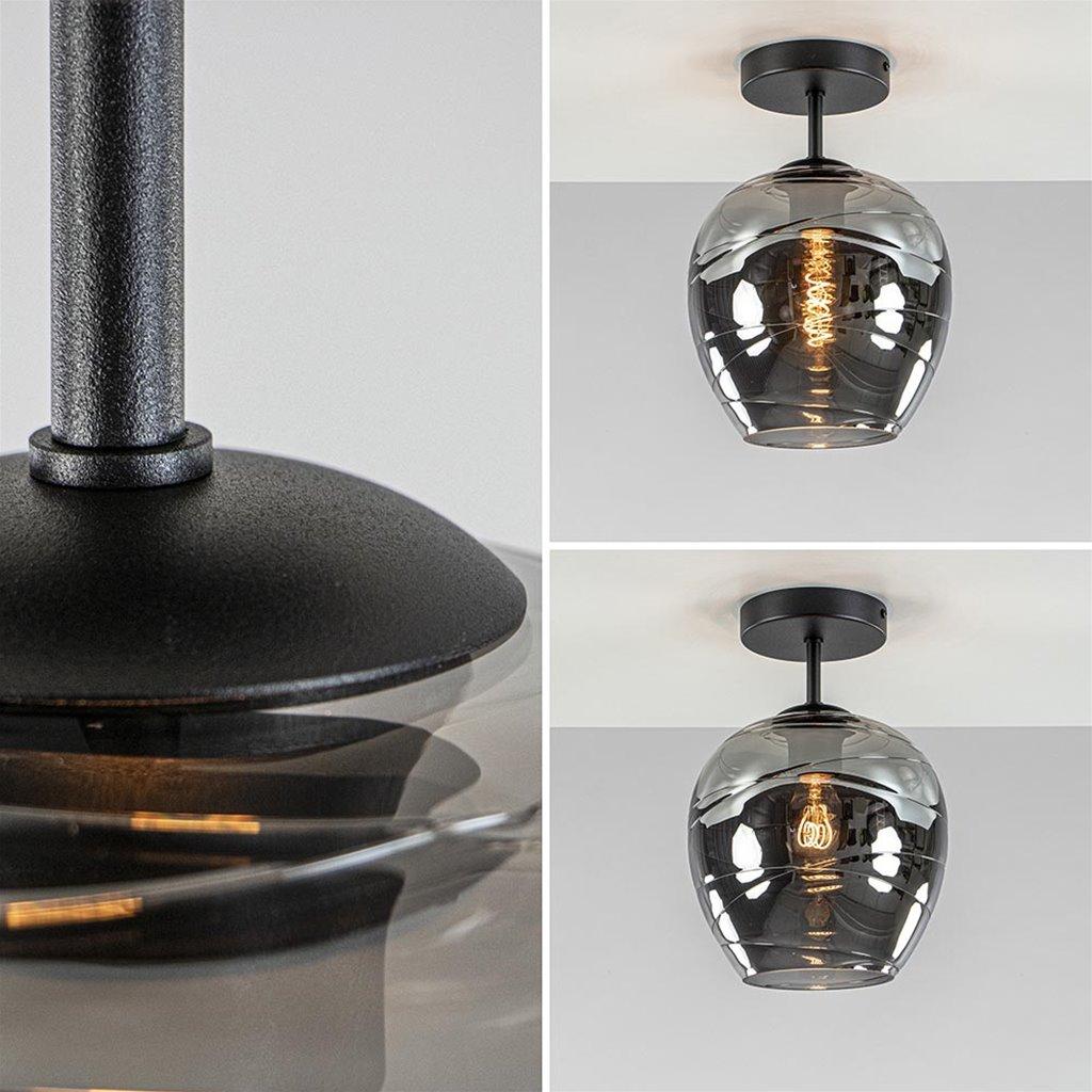 Moderne plafondlamp zwart met smoke glas