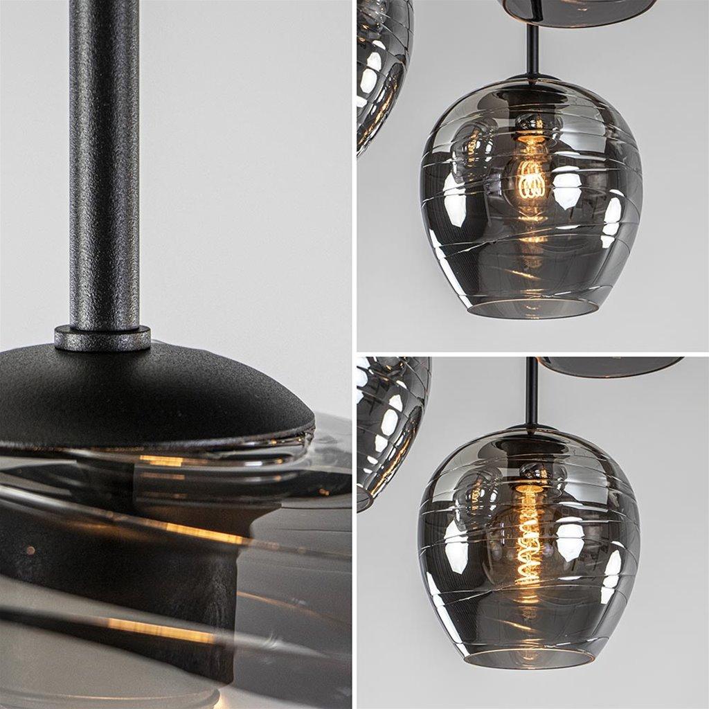 Plafondlamp rond 3-L zwart met smoke glas