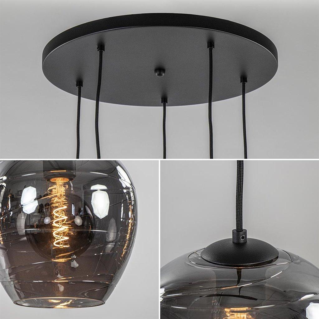 5-Lichts ronde hanglamp zwart met smokey glas