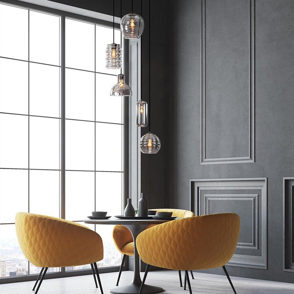 Ronde 5-lichts hanglamp zwart met diverse smoke glazen
