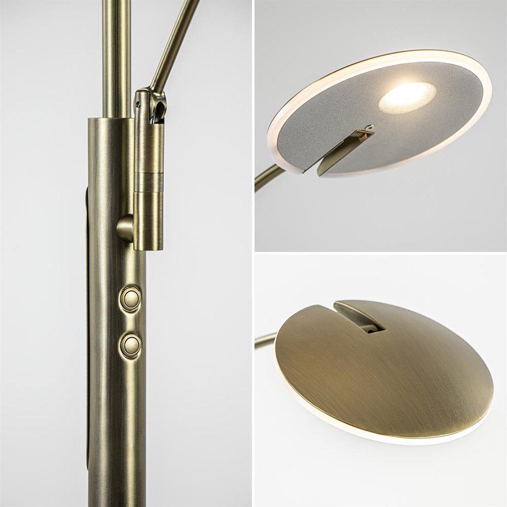 Strak klassieke LED uplighter brons met leeslamp