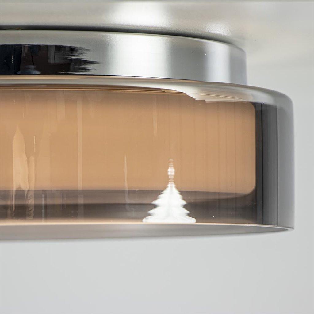 Dimbare LED badkamer plafondlamp smoke glas Ø28 cm