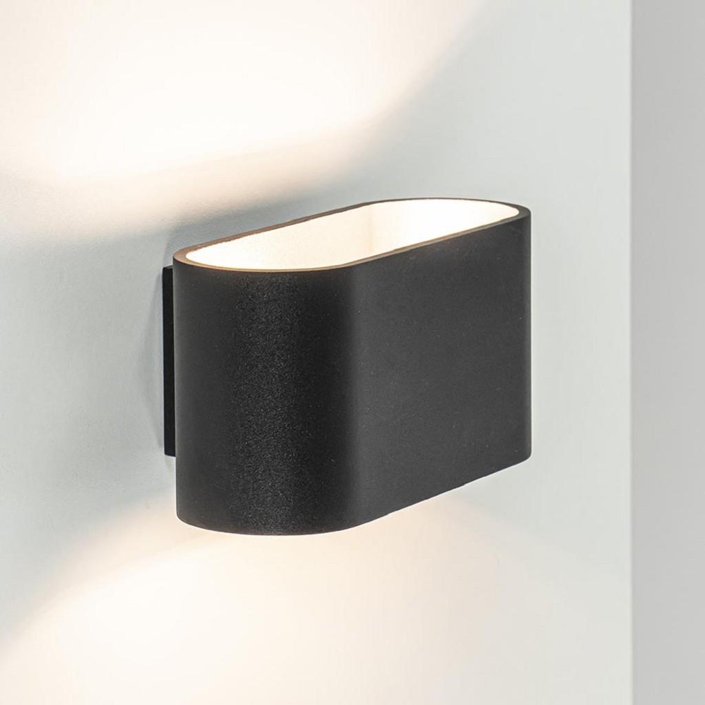 Mat zwarte wandlamp ovaal met zilveren binnenzijde