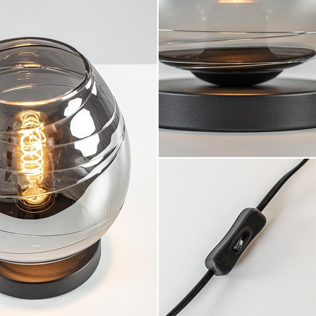 Mat zwarte tafellamp met smoke/titanium glazen kap