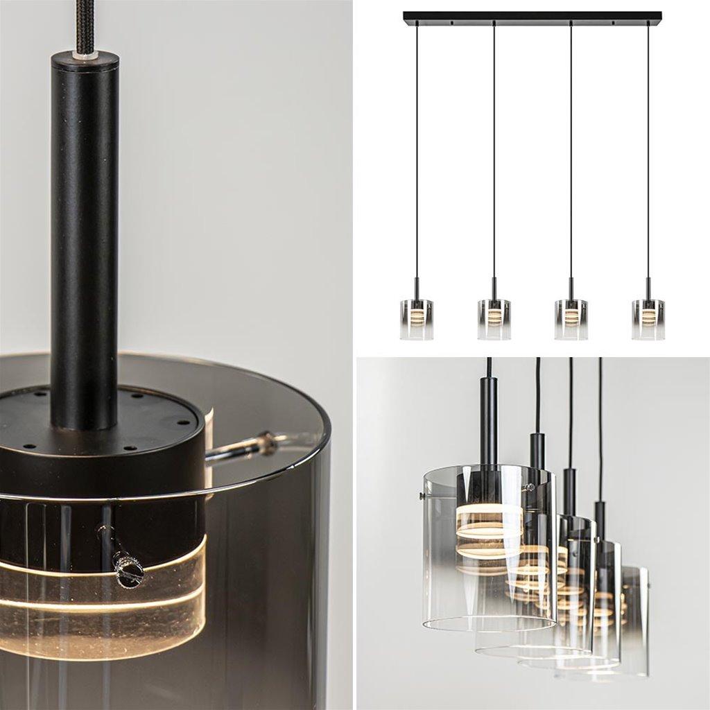 Luxe LED eettafelhanglamp met titanium/helder glas
