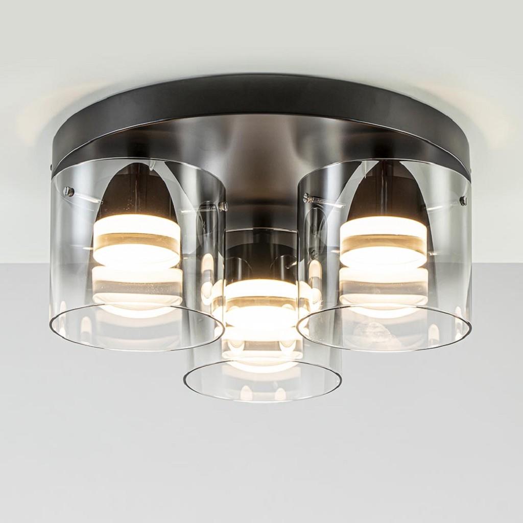 3-Lichts LED plafondlamp met smoke/helder glas
