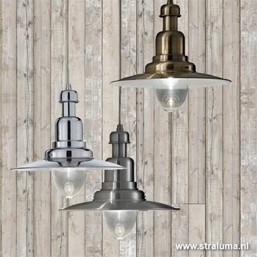 Hanglamp aluminium scheeps stijl glas
