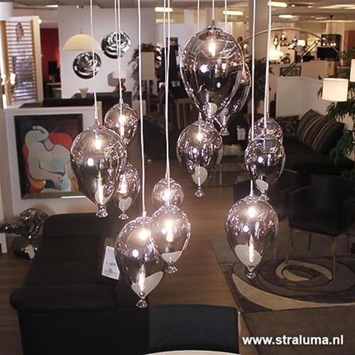 Hanglamp met meerdere lampen glas 12-L