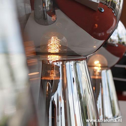 Chique tafellamp donker chroom pion XL