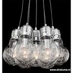 **Speelse hanglamp gloeilamp-tros chroom
