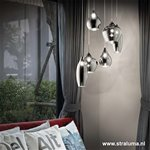 Hanglamp 6 lichts glas antraciet