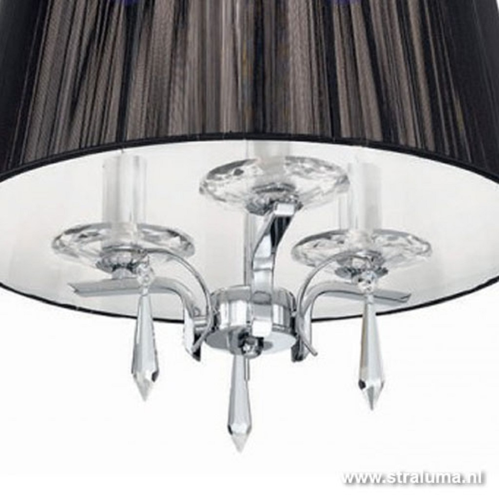 Hanglamp kroon met zwarte kap/kristal