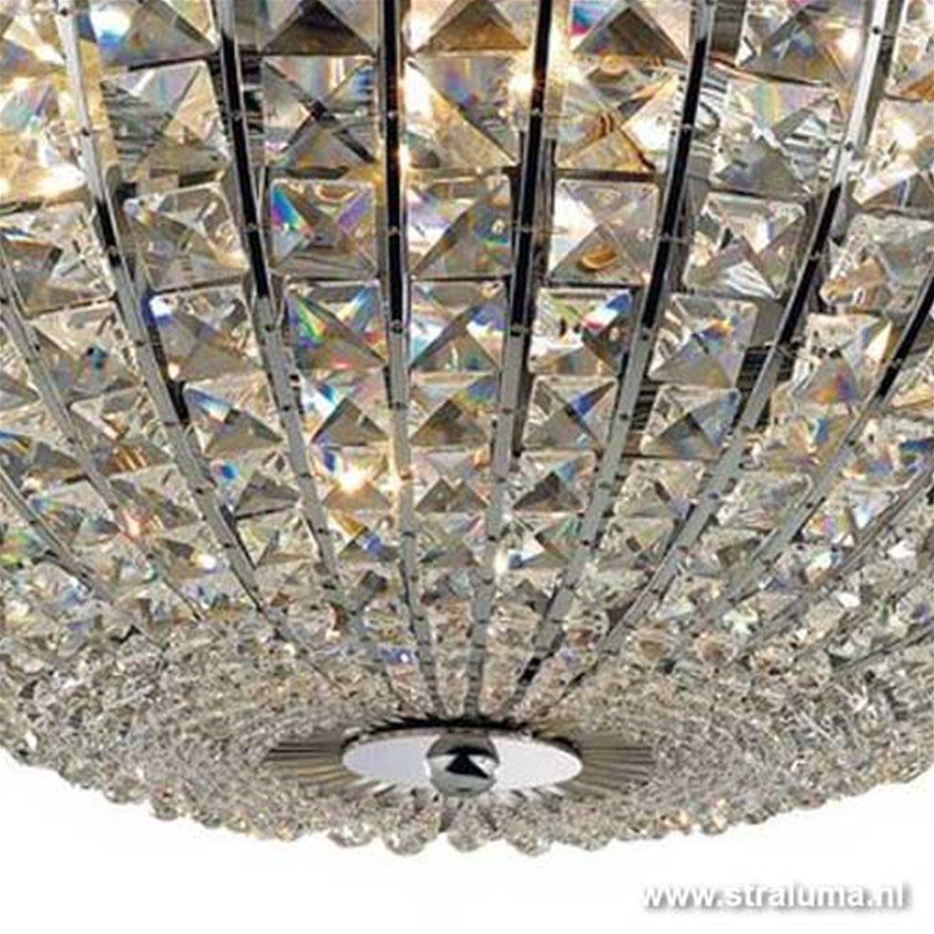 **Romantische plafonnière chroom kristal