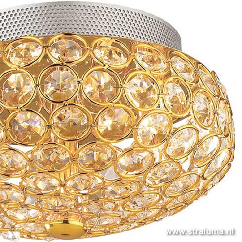 Chique plafonniere kristal goud-messing