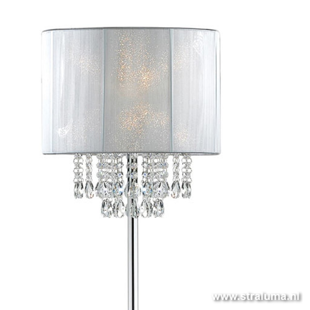 Vloerlamp Chique kristal wit draadkap