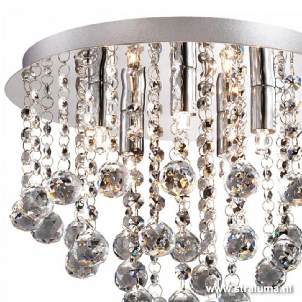 Plafondlamp kristal bollen + chroom 31cm