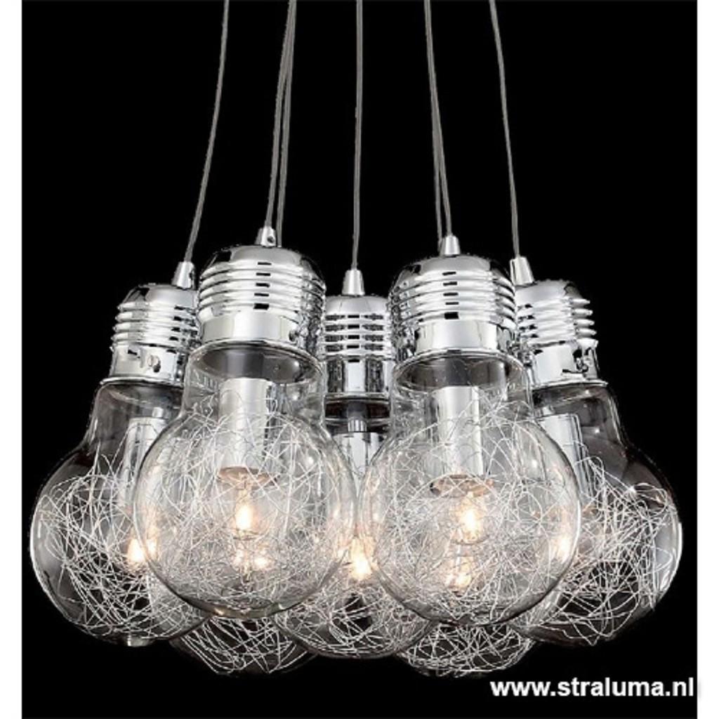 Speelse hanglamp gloeilamp-tros chroom