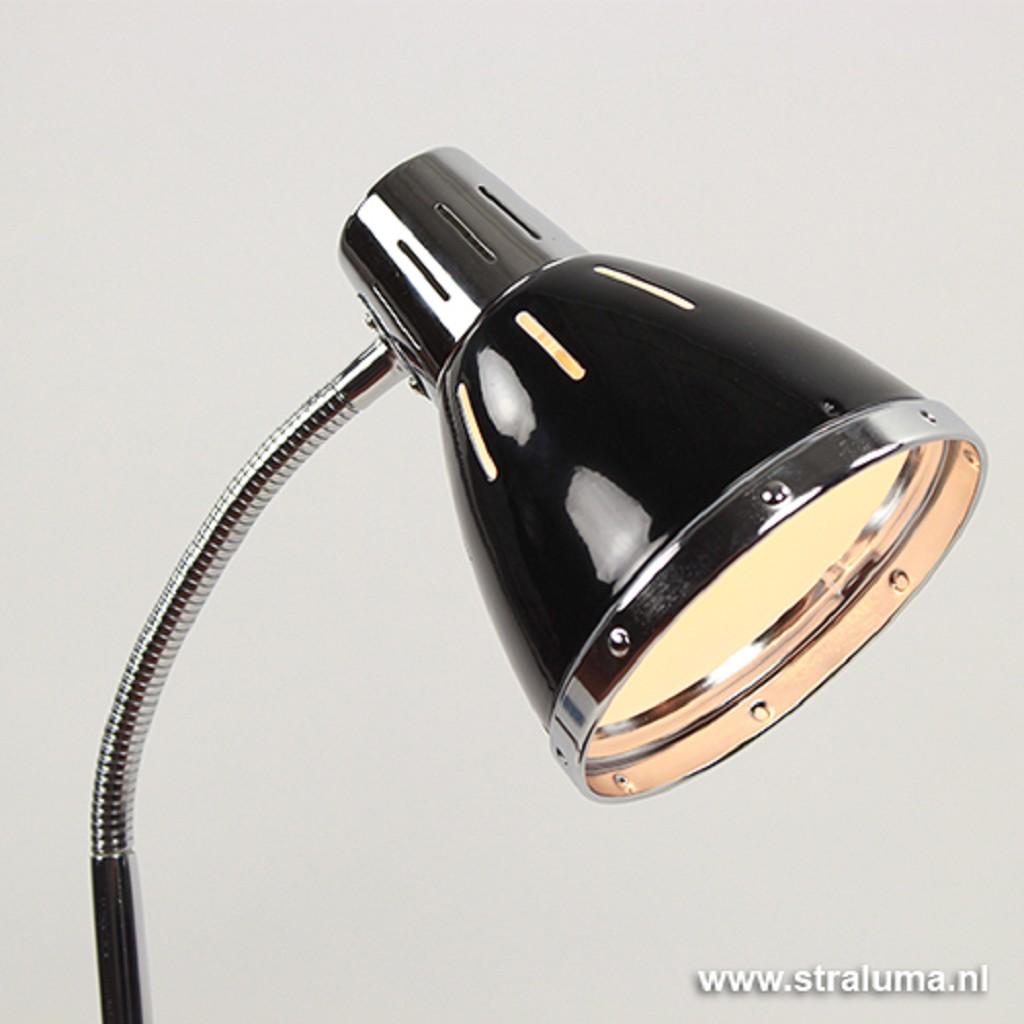 **Verstelbare zwarte tafellamp Retro