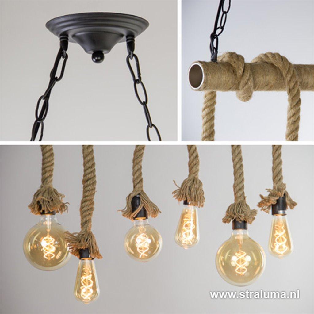 6-lichts hanglamp metaal met touw