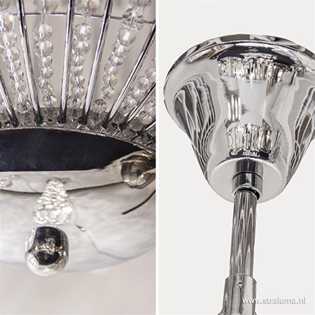 Luxe ronde hanglamp kristal met chroom