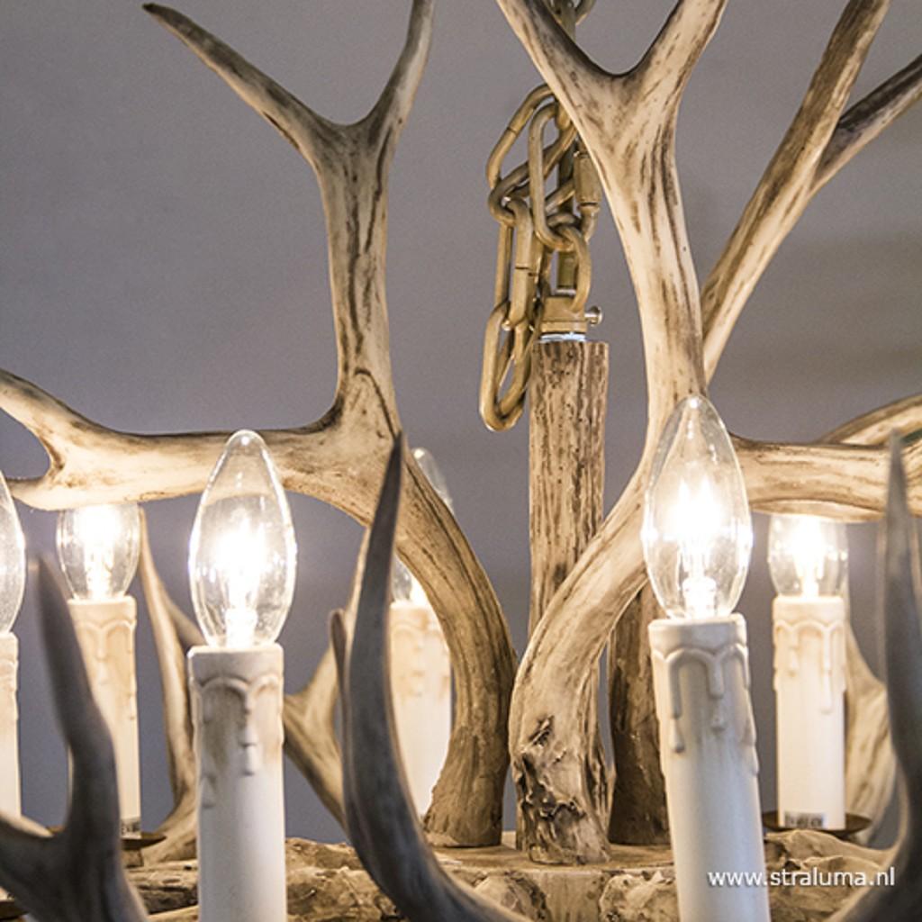 Grote geweien hanglamp 8-lichts