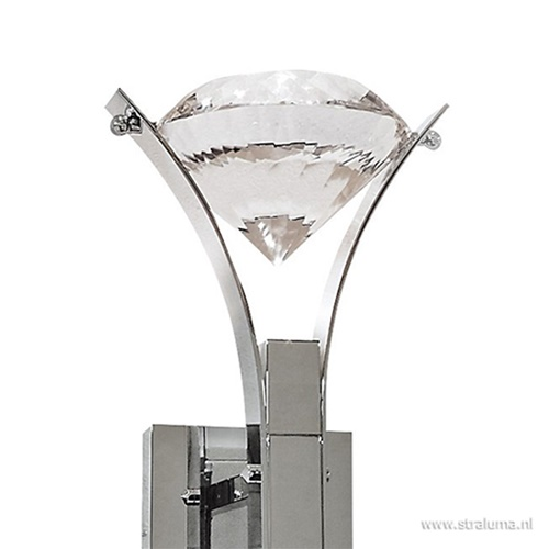 Wandlamp design chroom met kristal