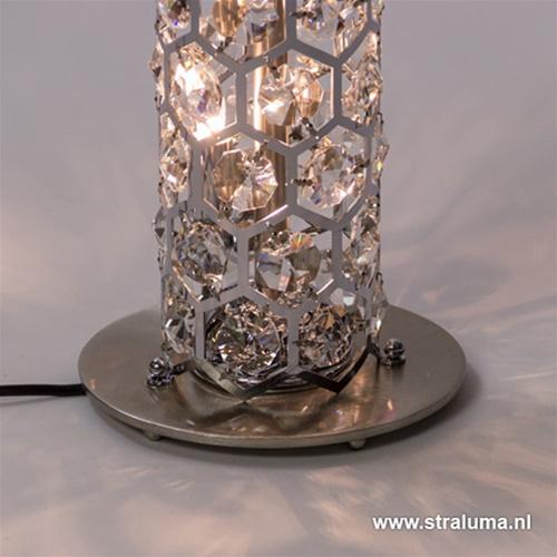 Luxe vloerlamp zuil chroom met kristal