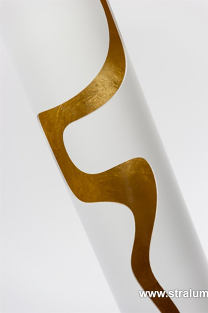 Design vloerlamp wit en binnenkant goud