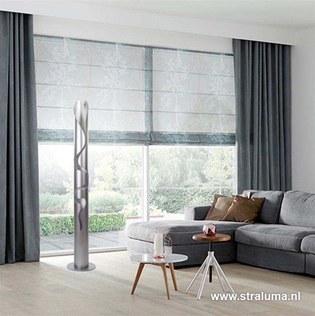 Zilveren design vloerlamp-lichtzuil