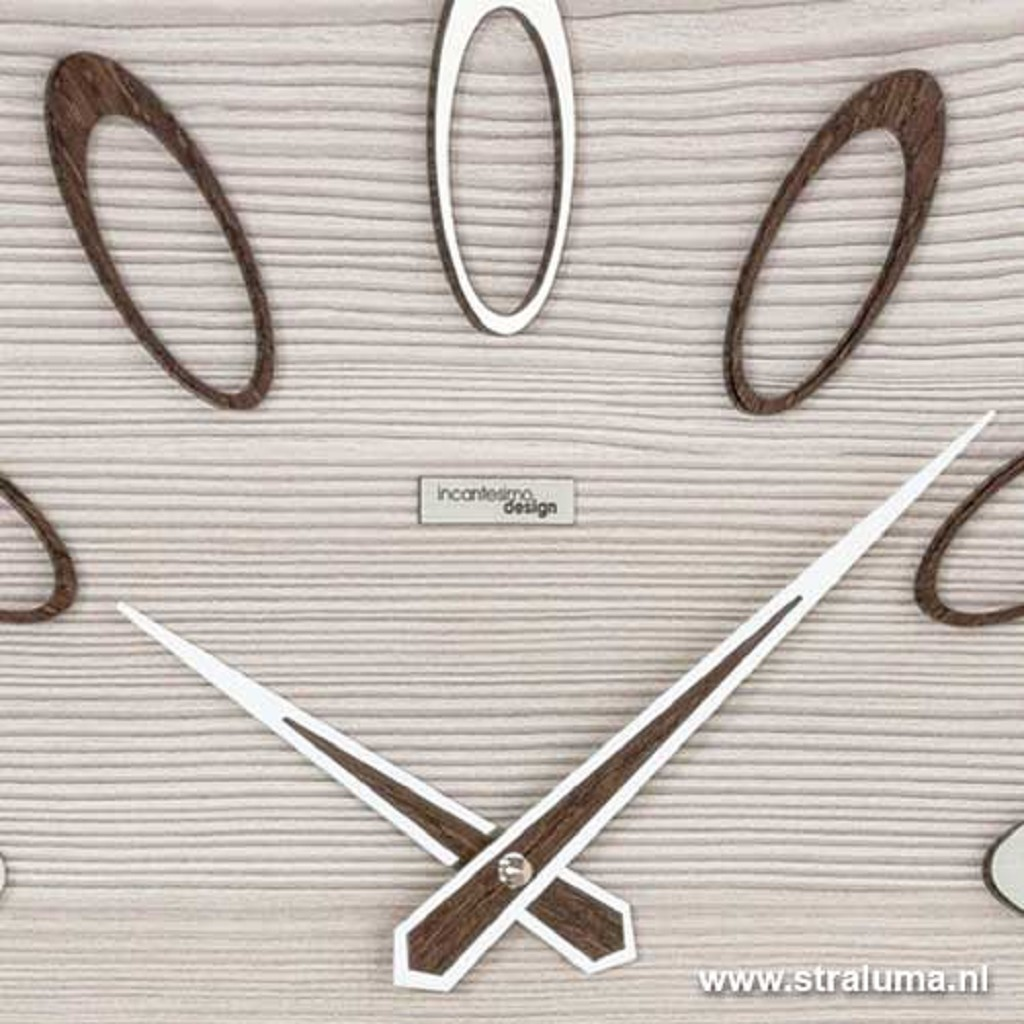 Vierkante wandklok hout whitewash