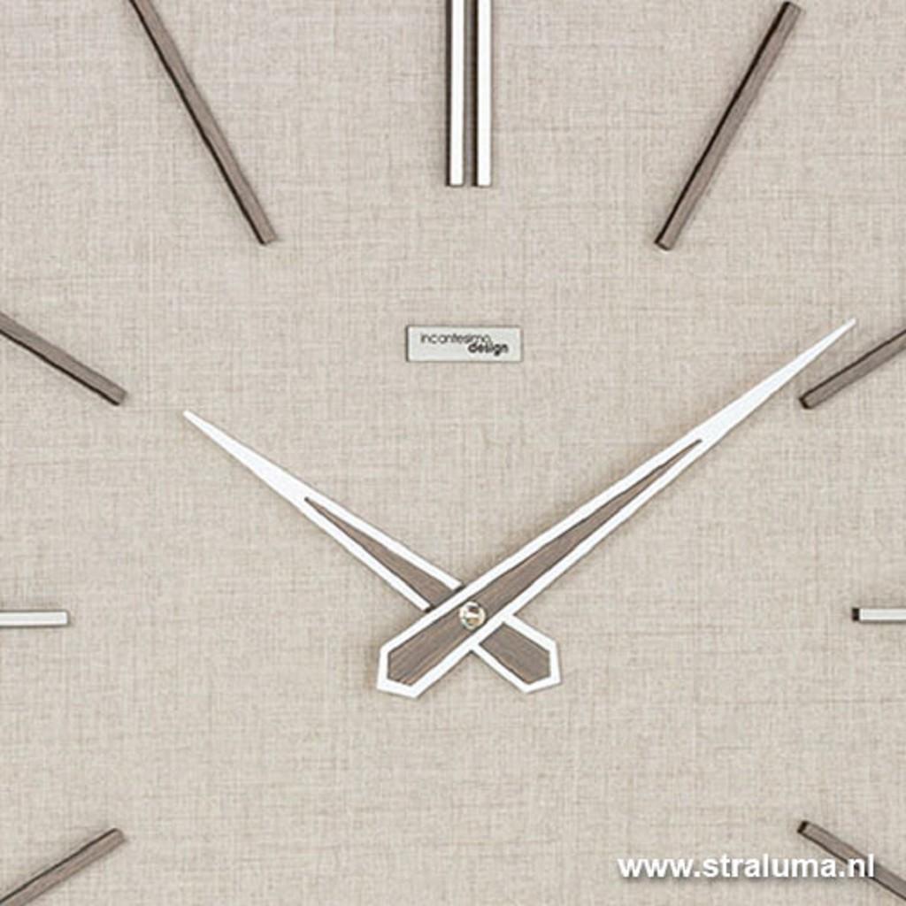 Moderne vierk. klok linnen-look beige
