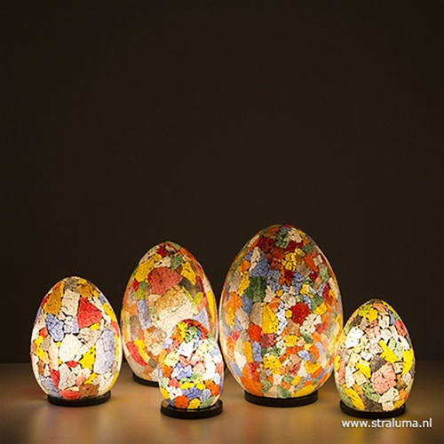 Glazen tafellamp met gekleurd glas