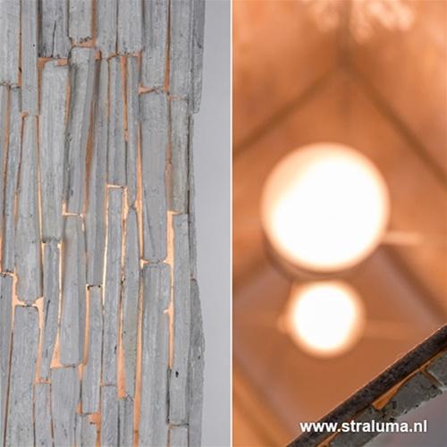 White wash vloerlamp, hout 150 cm