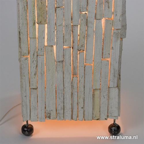 Wit houten staande lamp white wash