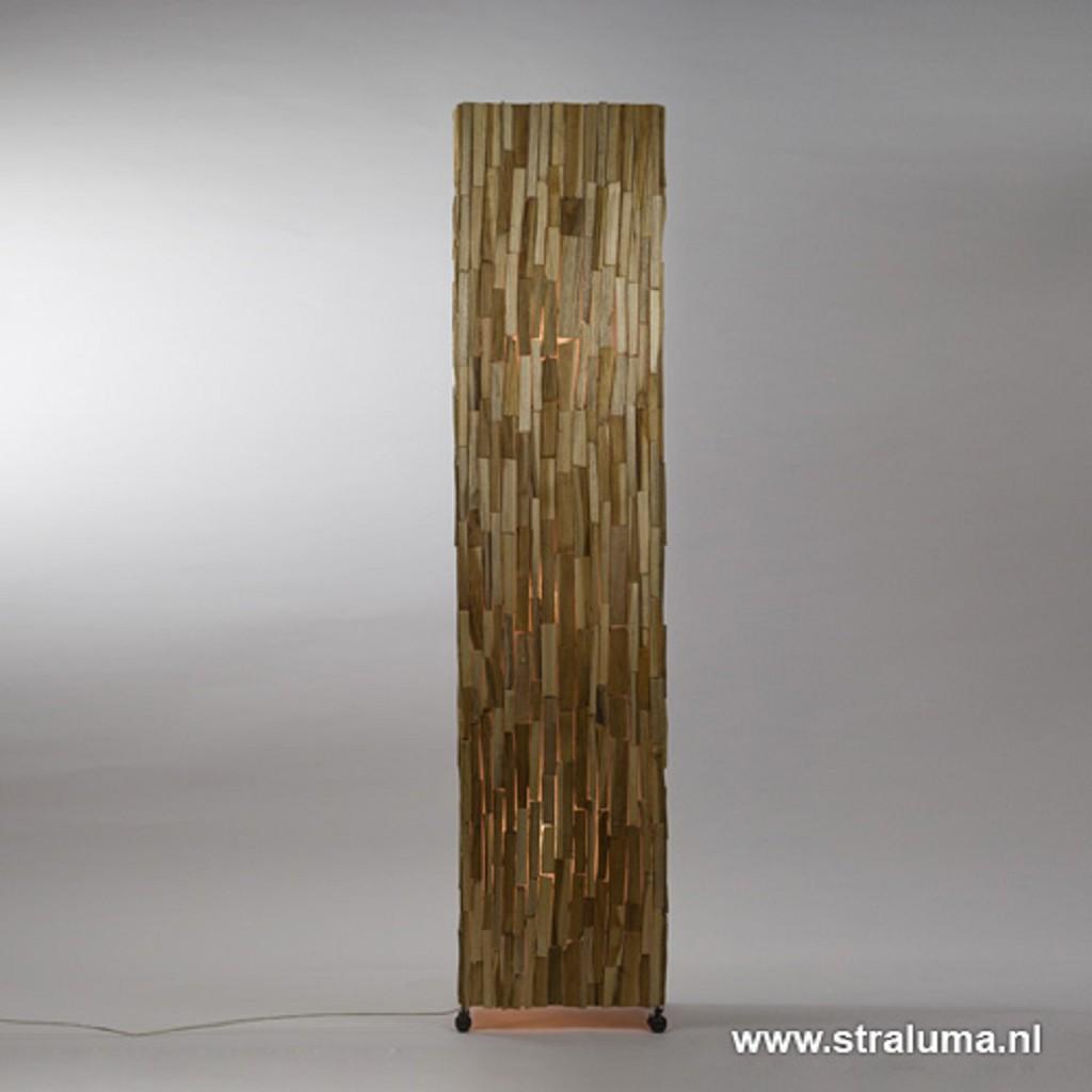 *Landelijke houten vloerlamp bruin 150