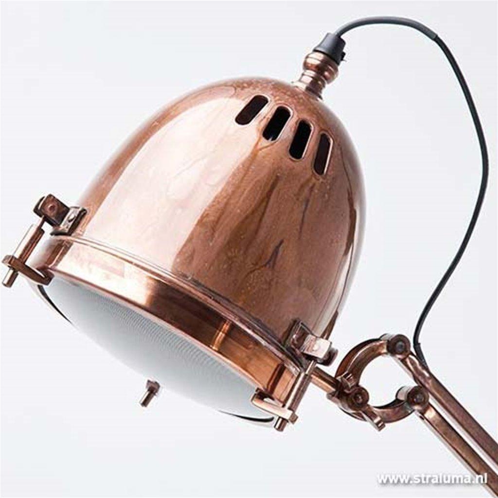 Industriele vloerlamp koper verstelbaar
