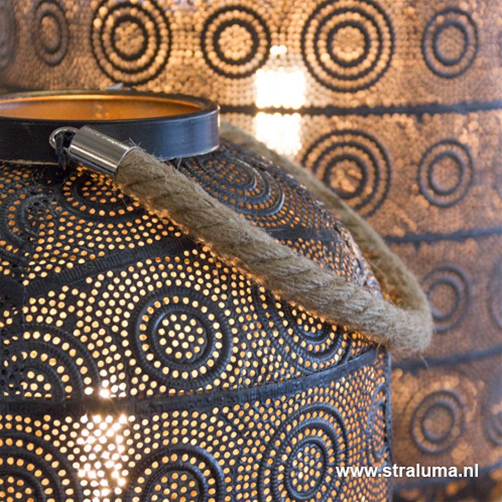 Lantaarn tafellamp oosters donker grijs