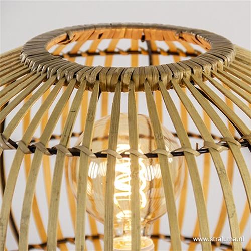Botanische tafellamp rotan met metaal