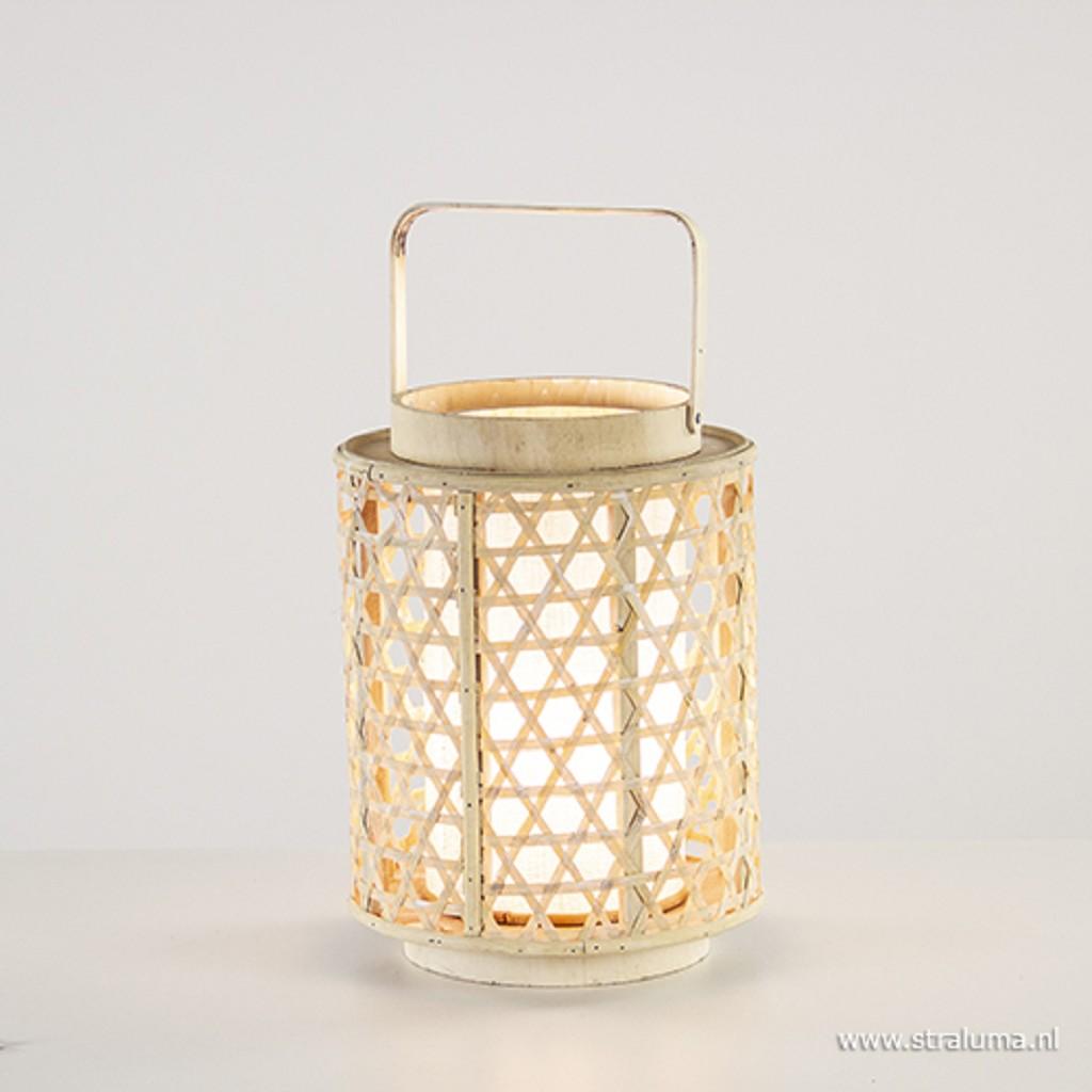 Sfeervolle houten lantaarn met kap wit