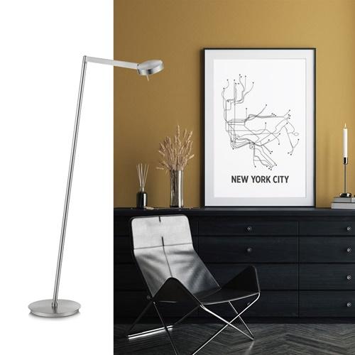 Moderne vloerlamp LED met touchdimmer - Nikkel