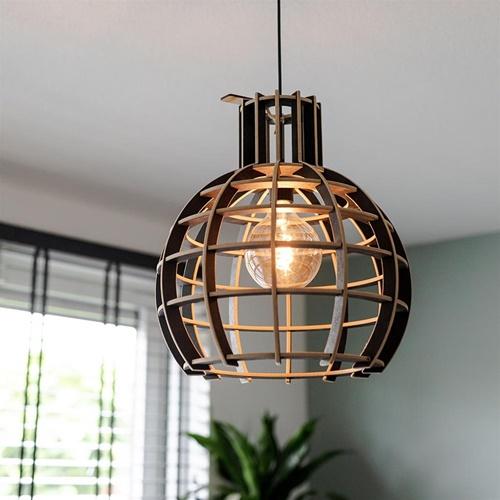 Hanglamp hout/zwart bol 40cm