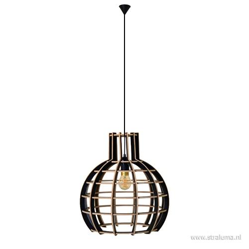 Hanglamp Globe hout zwart 70cm