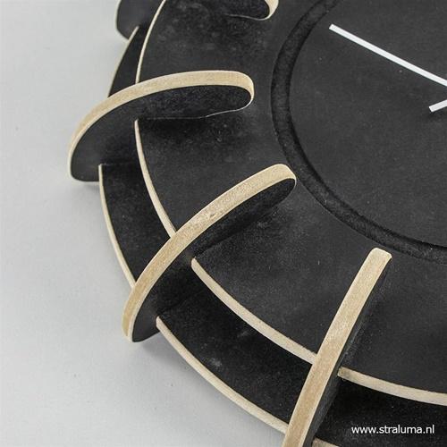 Houten klok zwart op zwart 40 cm
