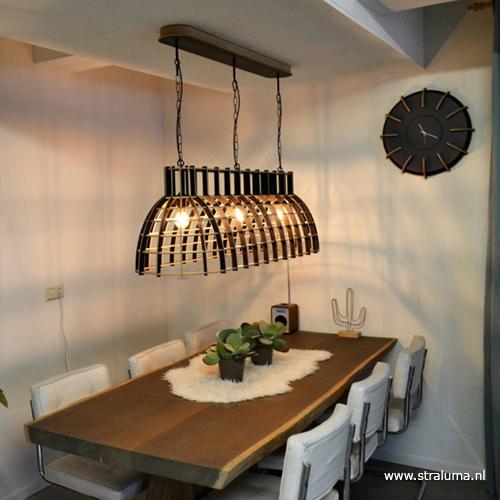Extreem Eettafel hanglamp Cone hout zwart   Straluma #AI84